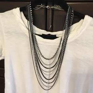 C&I Multi Row Chain and Rhinestone Bib Necklace